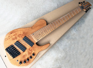 7 Strings Natural Electric Bass with Bark Grain Veneer,Maple Fingerboard,Slanted Frets,Can be Customized