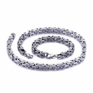 5mm / 6mm / 8mm çapında Gümüş Paslanmaz Çelik Kral Bizans Zincir kolye bilezik Mens Takı El yapımı