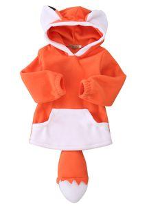만화 폭스 아기 소년 소녀 키즈 코트 까마귀 스웨터 스웨터 아웃웨어 폴라 플리스 카툰 후드 코트 따뜻한 폭스 재킷