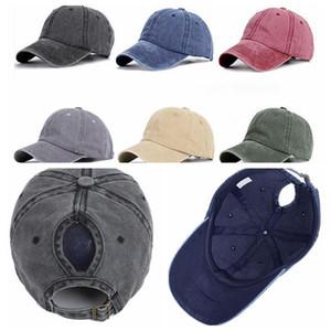 Омывается хвостик Cap Solid Color Baseball Cap Летняя дышащий колледж Стиль волос Hole Шляпа путешествовать ВС шапка KKA6576