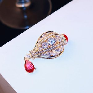 Brand high-end exquisite zircon crystal hot air balloon brooch high quality luxury 18k gold plated brooch women pin gift brooch jewelry