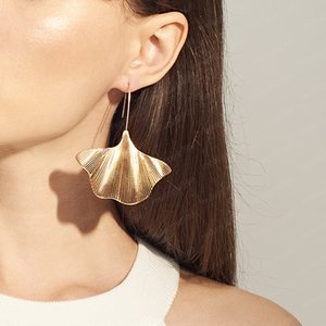 Gold Silver Filled Earrings Big Ginkgo Biloba Plant Leaf Hook Drop Statement Earring Women Jewelry ZA Earrings