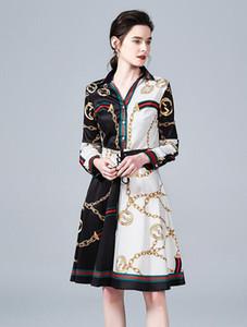 체인 인쇄 블랙 화이트 긴 소매 여성 셔츠 드레스 옷 깃 목 A 라인 거리 스타일 드레스 무릎 길이 긴 소매