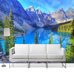 Papel tapiz personalizado 3D Murales Paisaje natural Snow Mountain Forest Lake Wall Mural Sala de estar Sofá TV Papeles de pared