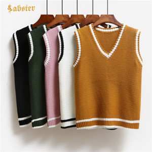 heap Vests & Waistcoats Casual New Fashion Women Autumn Spring Sweaters 2018 V-neck Sleeveless Solid Color Vests Sweaters Loose pullover ...