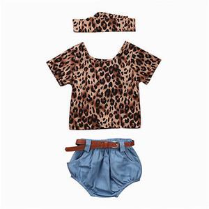 T-Shirt Tops Shorts Jeans Headhand Vêtements Set bébé nouveau-né Filles Vêtements Ensembles Leopard court