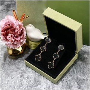 Agood Fashion Earrings for Women Black Clover Earing Stud 925 Sterling Silver Pin High Quality Luxury Designer Jewelry Women Earrings