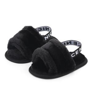 Sapatos recém-nascido Criança Bebés Meninas Sandal Outono-Inverno 3 Estilo Fur sólido plano com Outfit Heel 0-18M infantil do bebê Sapatos 1