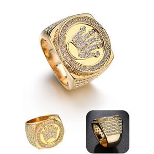 Nuevo Diseño Hip Hop Bling regalo del día de joyería corona de rey padre para los hombres Bling Micro Pave color oro circón anillo de envío de la gota