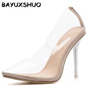 BAYUXSHUO de dos piezas y señoras de los talones bombas de los altos talones de estilete superior de PVC en punta Bombas simples de moda de verano del partido zapatos de las mujeres