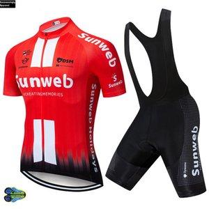 فريق UCI 2020 Sunweb الأحمر ركوب الدراجات جيرسي دراجة السراويل مجموعة MTB الرجال ملابس Ciclismo ركوب الدراجات ملابس الصيف دراجة هوائية مايوه Culotte 12D