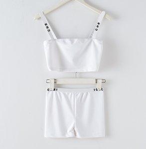 büstiyer ve kısa takım elbise yelek 2020 Yeni tasarım kadın yıldızı aynı stil pist moda logosu mektup yazdırma spagetti kayış kısa yukarı-göbek mahsul üst