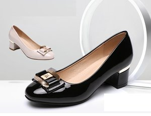 Hot Sale- Patent leather Women's Dress shoes, Classic Fashion Lady's Work shoes,Thick Heels 4.5CM Pump Shoes,Black Ivory Size 34-42