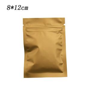 200 Unids 8 * 12 cm Marrón Mate Bolsa de embalaje de papel de aluminio Auto sellado Mylar Zip Lock Drid Alimentos Bean Snacks Bolsas de almacenamiento con muesca al por mayor