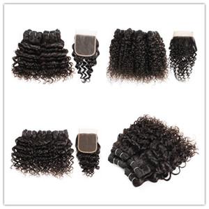 KISSHAIR estilo bob corto color natural de aguas profundas del pelo humano de la onda jerry pelo rizado 4 paquetes con cierre de 50 g / pedazo del pelo humano de la India