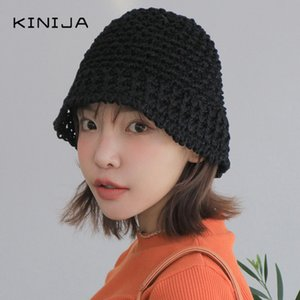 NEW Korean women foldable retro pumpkin fisherman hat knitted hat sun cap beach bucket Straw summer Femme Visor chapeau