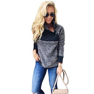Frauen Sherpa Fleece-Pullover Trendy Patchwork Sweatshirt Oblique-Knopf Kragen Hoodie Winter-Outwear Jacke S-3XL 8Color C92706