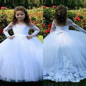 2020 Vente chaude pas cher blush rose fleur girls robes à manches longues pour mariages dentelle appliques robe de balle anniversaire fille communion robes de pageant
