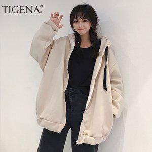 TIGENA Sweat-shirt oversize Sweats à capuche Femmes Automne Hiver 2019 Fermeture éclair coréenne mignonne velours Préchauffage Sweat-shirt Femme Poleron femmes Kpop