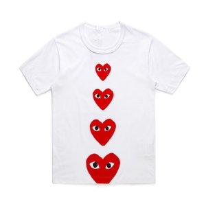 Neue, qualitativ hochwertige T-Shirts CDG COMMES Pullover Short Sleeve Breath PLAY Liebe-Rot-T-Shirt Baumwollhemd Ferien