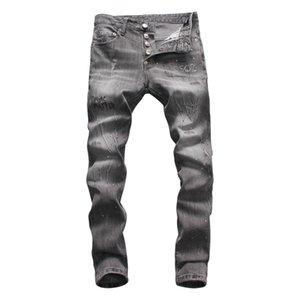2020 Mens Fashion Designer jeans College Runway Straight Zipper Denim Pants Destroyed skinny Ripped Hip hop Jeans