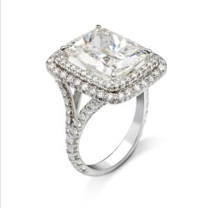 Victoria Wieck lujo de la joyería 925 Anillo Big Band claro blanco del Topaz CZ Diamante Eternidad mujeres novia Sterling SilverPrincess Cut para amantes