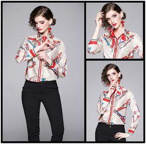 Lüks Tasarım kadın Moda Bahar Güz İnce Baskı Gömlek Bluzlar Zarif Ofis Lady Seksi Düğme Ön Baskı Yaka Gömlek Bluzlar