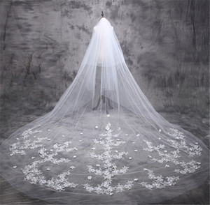 New Arrive Bride Veil Long Length Elegant Lace Beaded Long Wedding Veil Fashion Long Wedding Veil