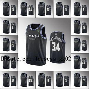 MilwaukeeBucksMen Giannis Antetokounmpo Khris Middleton Eric Bledsoe Custom 2020NBA Paris Game Black Jersey