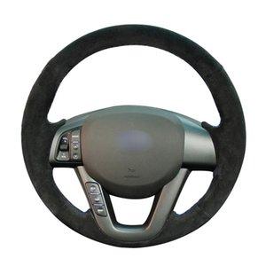 Dirección mano cose Negro Suede coches Cubierta de rueda para Kia K5 Optima 2011 2012 2013