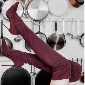 Sexy über das Knie Oberschenkel hohe Stiefel High Heels Frauen Winterstiefel weinrot beige schwarz suede Größe 35 bis 40 hingewiesen