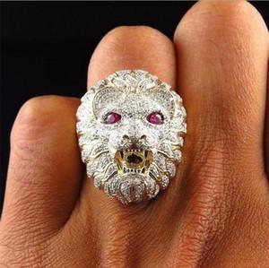 Anillos de cabeza de león para hombre - Anillos de aleación de lujo Feroz Golden Lion Finger Ring Biker Gothic Knight Punk Male Jewelry Gifts