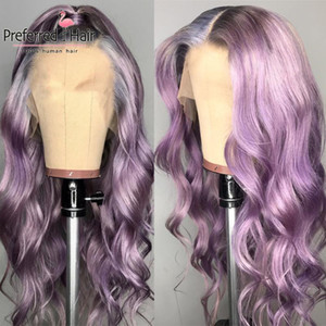 Spitze Perücken Bevorzugt Ombre Human Hair Perücke lila rosa Körperwellenfront transparent Remy mit Baby