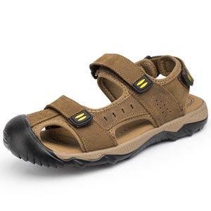 Sandálias De Playa Sandálias Novas Sandálias Genuínas Antiderrapantes De Couro Fechado Dedo Grande Sandálias Sandles Men Sandalia