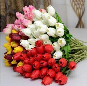 PU Тюльпан дисплей цветка реального касания экологически чистых PU Тюльпан Искусственные цветы Моделирование Свадебные или Home декоративный цветок Бесплатная доставка