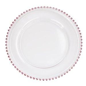 32 centimetri rotonda placcato Perle Piatti lastre di vetro trasparente occidentale cibo Imbottitura Piatto Tabella di cerimonia nuziale decorazione della cucina Strumenti 3colors GGA3205