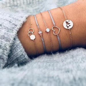 Tisonliz 5PCS / Set Vintage Coeur Opale Cristal Bracelets Ensemble pour les Femmes Métal Géométrique Bracelet Déclaration Bijoux Pulseras Mujer