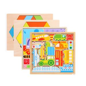 Atacado Montessori 3D Tetris De Madeira brinquedo do enigma animal Cubo Mágico Educativo Cérebro Teaser IQ Mind Game brinquedo Para presente Das Crianças