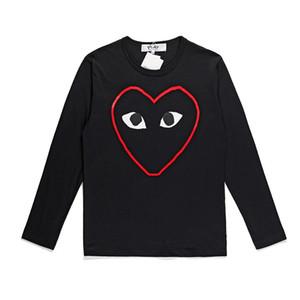 2019 осень японский Tide CDG Red Heart майка Мужчины Женщины Линия сердца с длинным рукавом Футболка Проигрывает Red Heart O-образным вырезом Хлопок дна рубашки