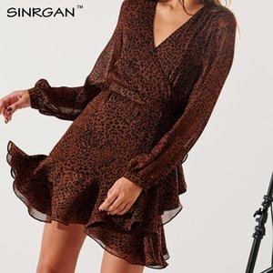 SINRGAN mode Mini robe léopard Ruffle Brown femmes élégantes Streetwear automne vintage Robes Mini Robe courte Femme