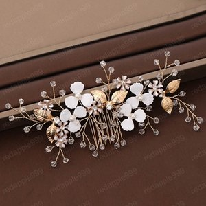 Luxury Women Gold Flower Hair Comb Hand-woven Dressing Women Bridal Wedding Ornaments Hair Jewelry Accessories
