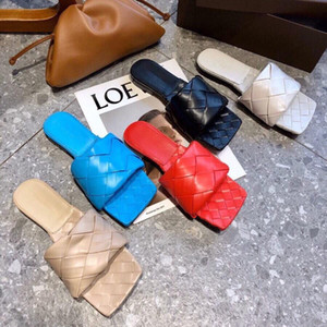 2020 Designer ladies slippers square mules shoes insoles napa lambskin woman shoes LIDO sandals luxury Genuine leather ladies flat sandals