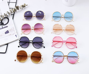 Fashion new Children sunglasses kids pearl round Metal frame sunglasses girls boys Uv protection beach sun glasses Adumbral A3110