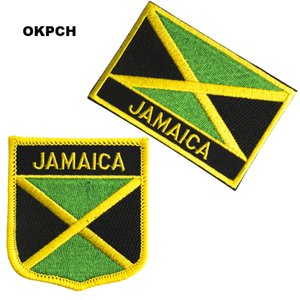 Free Shipping Jamaica Flag Embroidery Iron on Patch 2pcs per Set PT0197-2