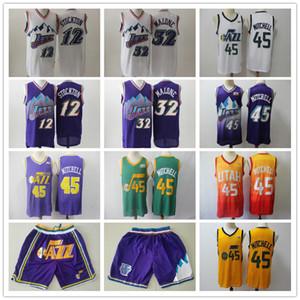 De los hombresUtahJazzJersey de la vuelta 12 de John Stockton 32 Karl Malone Donovan 45 Mitchell baloncesto camisetas de baloncesto pantalones cortos de color púrpura