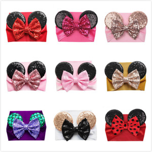 Amazon European and American Baby Velvet Hair Belt Solid Color Sequins Big Bow Mouse Ear Wide Headband Girl Hair Accessories