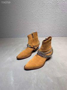 Homem Novo Ami Ri Ocidental Cadeia botas de camurça de luxo Calçado Cowboy Rock Roll Brown couro genuíno Moto adornadas Jodhpur Botas Sapatos