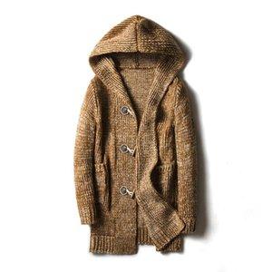 MaoMaoLeYenDa Thick Men Winter Cardigan Sweater hooded horn button Big Boys Sweaters 2019 Winter Plus Size 4XL 5XL Men Knit Wear