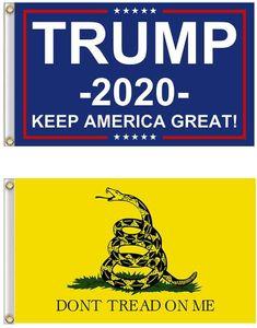 90*150 Trump Flag 3*5 Feet American US Trump 2020 Flag and Gadsden Flag Kit for Outdoor Indoor Yard House Garden Don't Tread on Me