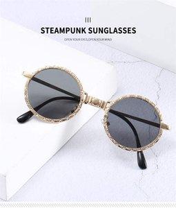 Avrupa ve Amerikan kişilik Steampunk metal yuvarlak çerçeve eğilim bayan güneş gözlüğü erkek sokak çekim gözlük yolculuk güneş gözlüğü